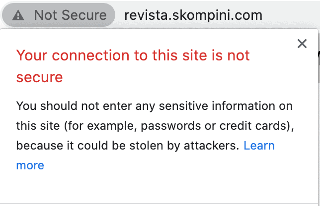 site without https or SSL certificate